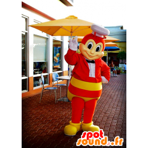 Mascot red and yellow bee, wasp, of flying insect - MASFR21386 - Mascots bee