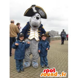 Grå delfin maskot kledd i pirat kostyme - MASFR21387 - Maskoter Pirates