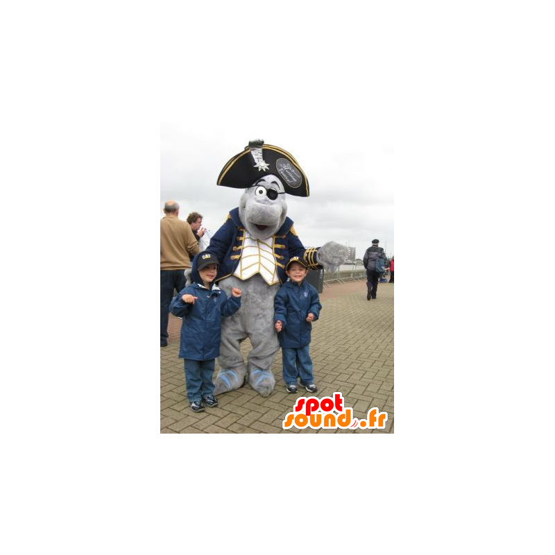 Grijze dolfijn mascotte gekleed in piraatkostuum - MASFR21387 - mascottes Pirates