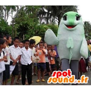 Mascotte de poisson vert et blanc, géant