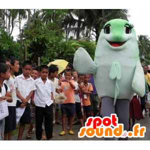 Vihreä ja valkoinen kalan maskotti, jättiläinen