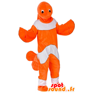 Mascotte de poisson-clown orange et blanc