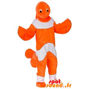 Oranje en witte clown vis mascotte