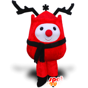 Boneco mascote neve vermelho com grande madeira preta