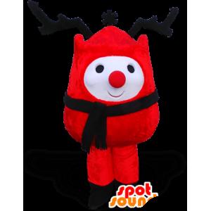 Mascotte de bonhomme de neige rouge avec de grands bois noirs