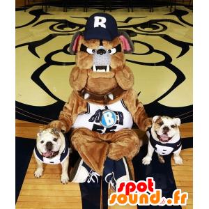 Bulldoggen-Maskottchen braun, grau und schwarz, sehr realistisch - MASFR21412 - Hund-Maskottchen