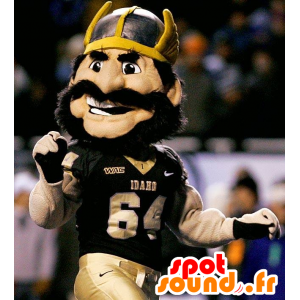 Viking mascot mustache, muscular, with a helmet on his head