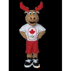 Mascotte de caribou, d'élan marron avec des bois rouges