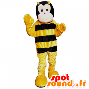 Mascotte black and yellow bee, cute