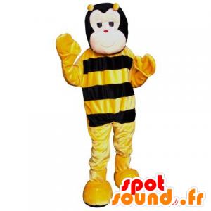 Maskot černé a žluté včely, roztomilých