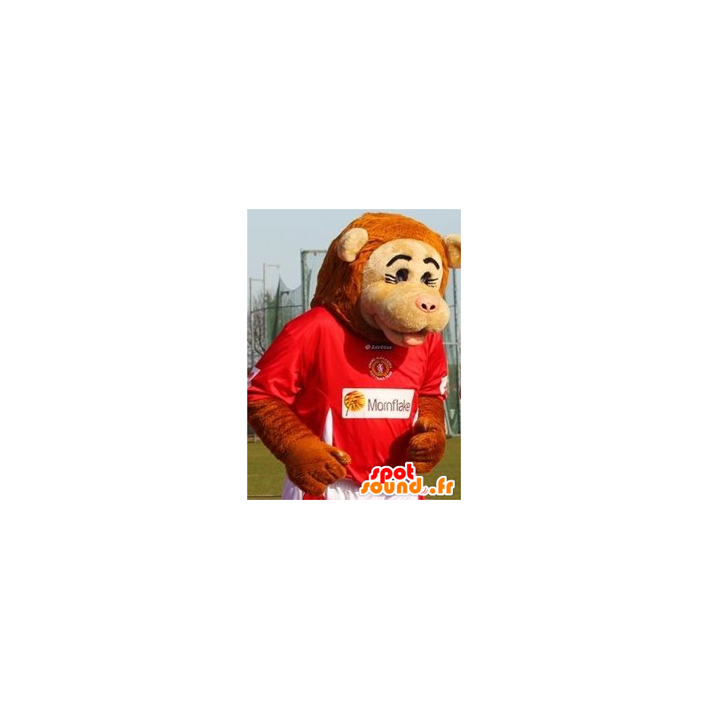 Beige and orange monkey mascot in sportswear - MASFR21428 - Mascots monkey