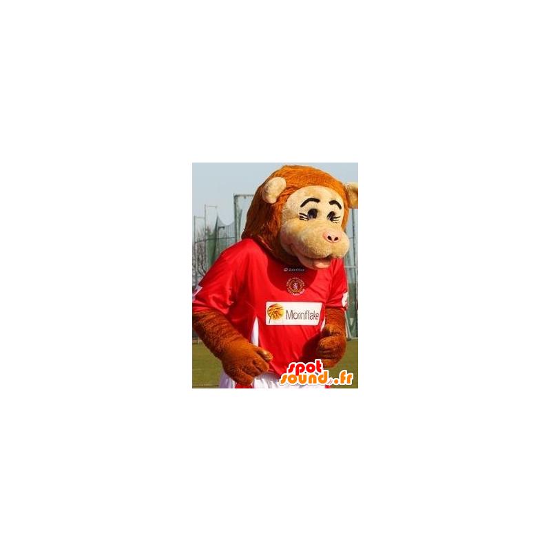 Mascotte de singe beige et orange en tenue de sport - MASFR21428 - Mascottes Singe