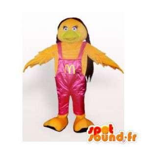 Uccello mascotte gialla in tuta rosa - MASFR006461 - Mascotte degli uccelli