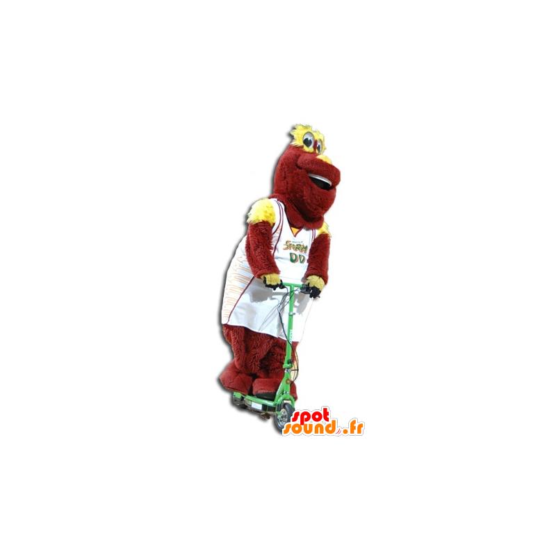 Red and yellow plush mascot in sportswear - MASFR21435 - Sports mascot