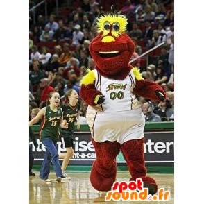 Mascotte de peluche rouge et jaune, en tenue de sport - MASFR21435 - Mascotte sportives