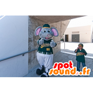 Gray mouse mascot, gray elephant dressed in green sports