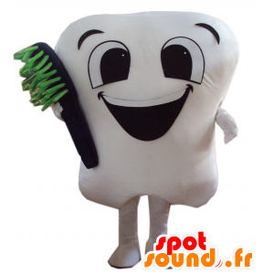 Mascot giant white tooth with a toothbrush - MASFR21447 - Mascots unclassified