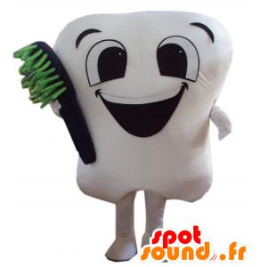 Maskottchen riesigen weißen Zahn mit einer Zahnbürste - MASFR21447 - Maskottchen nicht klassifizierte