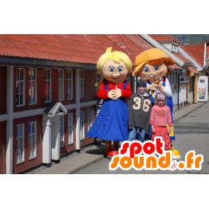 2 mascottes de personnages germaniques, une fille et un garçon