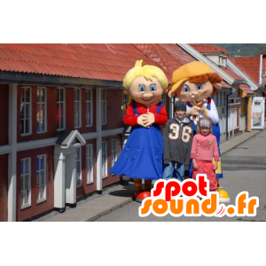 2 Maskottchen germanische Zeichen, ein Junge und ein Mädchen - MASFR21448 - Maskottchen-Kind