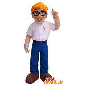 Man Maskottchen der blond-Ingenieur mit Brille - MASFR21453 - Menschliche Maskottchen