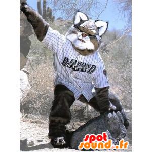 Mascotte de lynx gris et blanc, géant et poilu