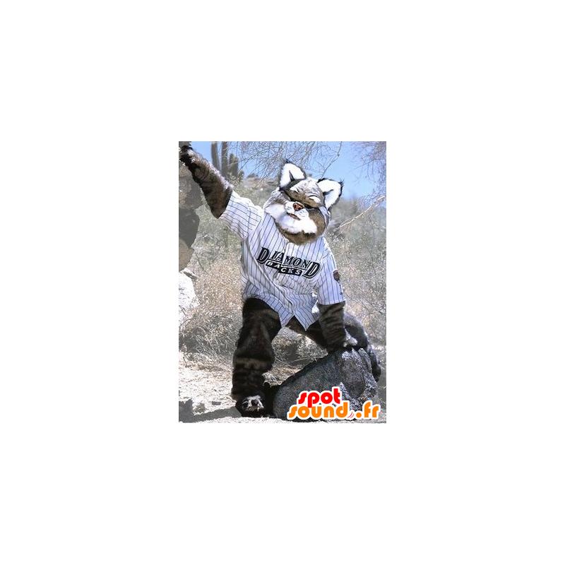 Mascotte de lynx gris et blanc, géant et poilu - MASFR21454 - Mascottes Renard
