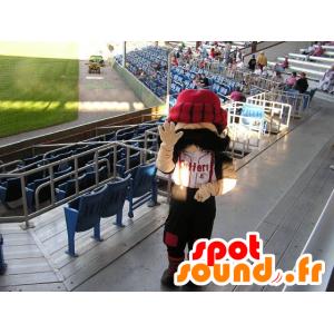 Mascot schnauzbärtige Mann mit einem großen roten Kappe - MASFR21455 - Menschliche Maskottchen