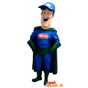 Superhero mascot in blue and green outfit