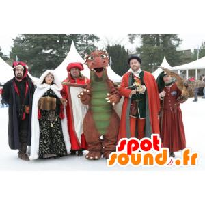 Mascot oransje og grønn dinosaur, gigantiske og imponerende - MASFR21460 - Dinosaur Mascot