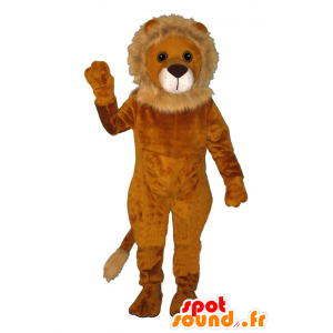 Lion mascot orange and beige, soft and hairy - MASFR21461 - Lion mascots