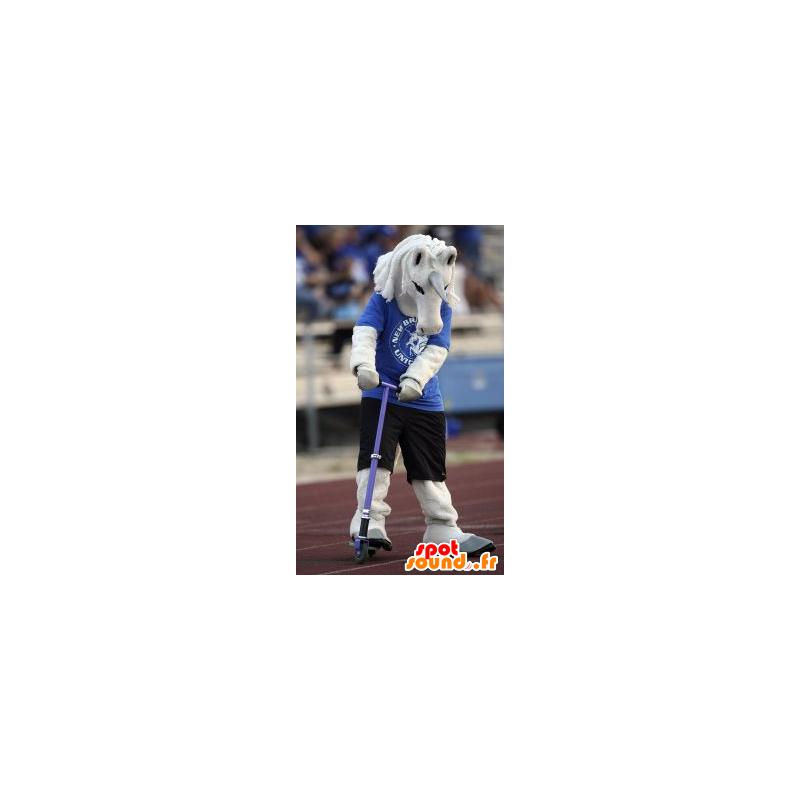 Biały jednorożec maskotka w kolorze niebieskim i czarnym stroju - MASFR21462 - wymarłe zwierzęta Maskotki