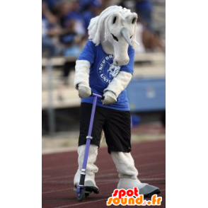 White unicorn mascot in blue and black outfit - MASFR21462 - Missing animal mascots