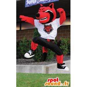 Mascote gato, lobo vermelho, preto e branco - MASFR21467 - lobo Mascotes