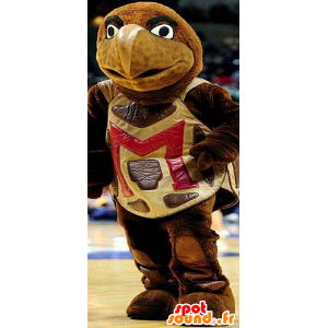 Brown and yellow, giant turtle mascot