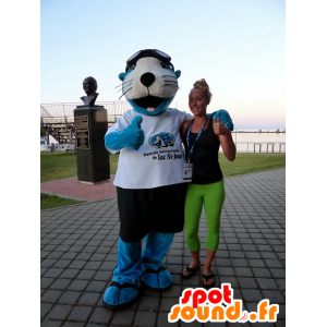 Mascot blue and white sea lion with shorts and a t-shirt - MASFR21470 - Mascots seal