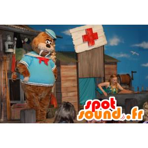 Mascota morsa marrón vestido con marinero