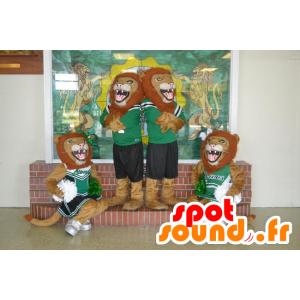 4 mascots roaring lions in sportswear - MASFR21477 - Lion mascots