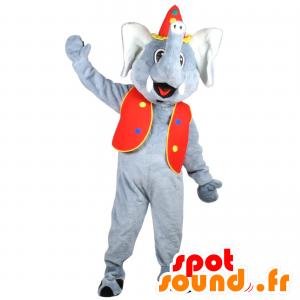 Mascot elefante cinzento em trajes de circo