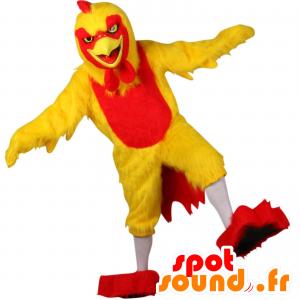 Mascota de gallina, amarillo y gallo rojo