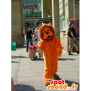 Lion mascot orange and brown, cute and all hairy - MASFR21486 - Lion mascots