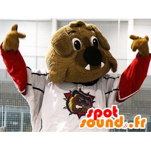 Ruskea bulldoggi maskotti urheiluvaatteita
