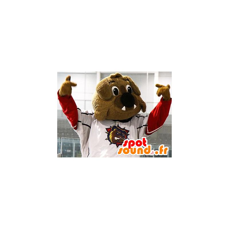 Mascotte de bulldog marron en tenue de sport - MASFR21488 - Mascotte sportives
