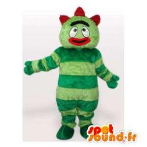 Mascota del monstruo verde.Disfraz verde todo velludo