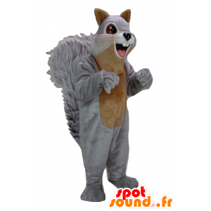 Maskotka szary i brązowy wiewiórka, gigant