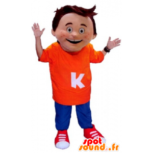 Mascot little boy wearing an orange and blue outfit