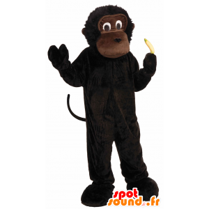 Ruskea apina maskotti, simpanssi, gorilla pieni