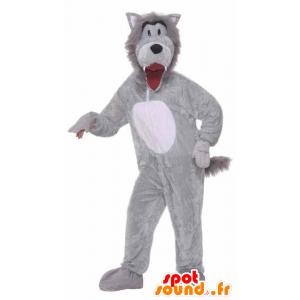 Grauer Wolf-Maskottchen und völlig kunden weiß - MASFR21503 - Maskottchen-Wolf