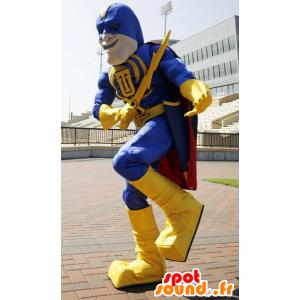 Super-herói mascote segurando amarela e azul, com uma capa