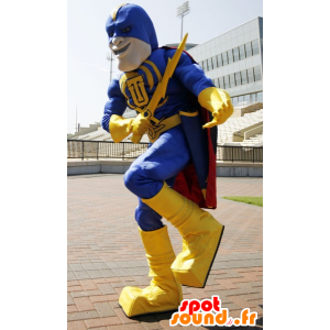 Superhero mascot holding yellow and blue, with a cape